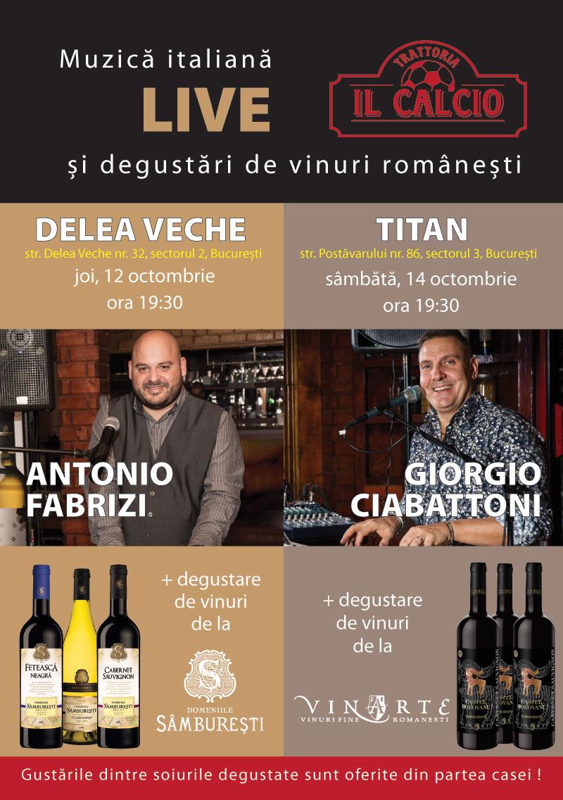 Seri speciale la Tarttoria Il Calcio cu muzică italienească și degustări de vinuri românești !